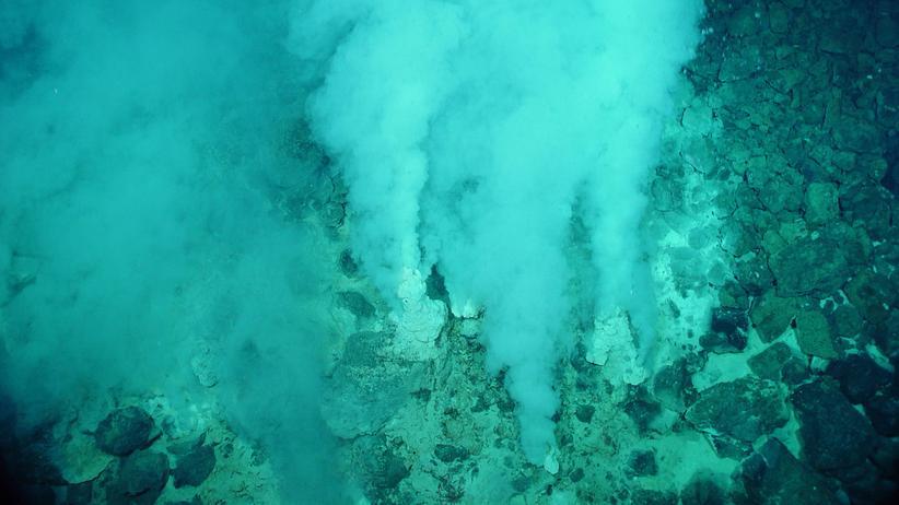 Evolution: Weiße Raucher wie dieser vor Japan gehören zu den hydrothermalen Quellen am Grund der Tiefsee.