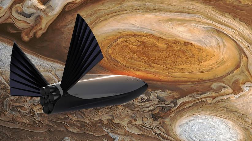 SpaceX: Noch eine reine Vision, am Computer animiert: das Raumschiff BFS vor dem Planeten Jupiter.