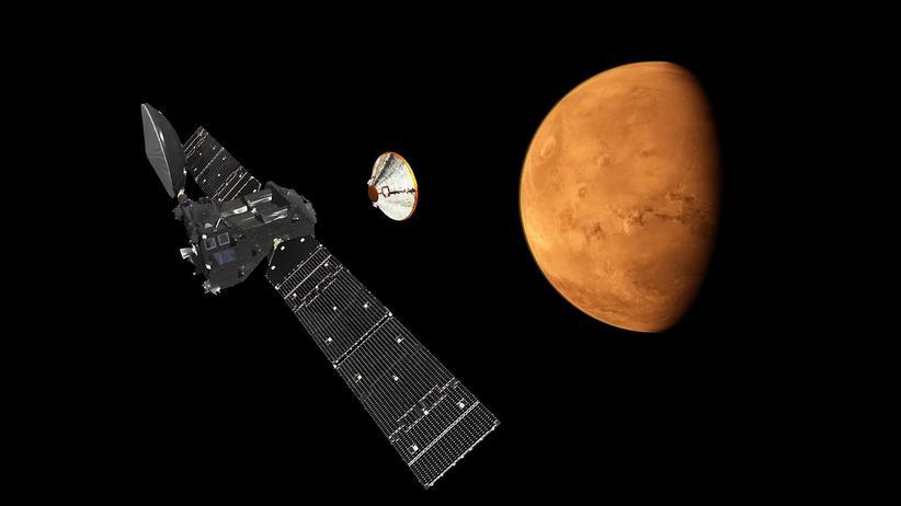 ExoMars-Mission: Eine Simulation der Esa zeigt, wie das Abkoppeln des Moduls Schiaparelli aussehen soll.