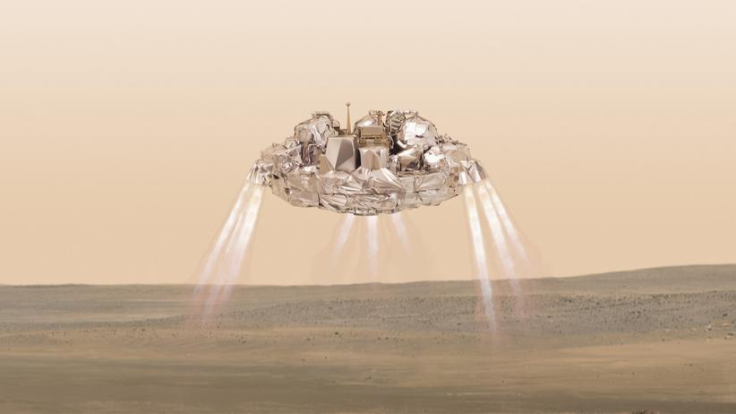 """""""ExoMars""""-Mission: Das Landemodul Schiaparelli wird einer Geschwindigkeit von 21.000 Kilometern pro Stunde in die Marsatmosphäre eintreten. Weniger als sechs Minuten später soll es auf dem Planeten landen, wie diese Illustration zeigt."""