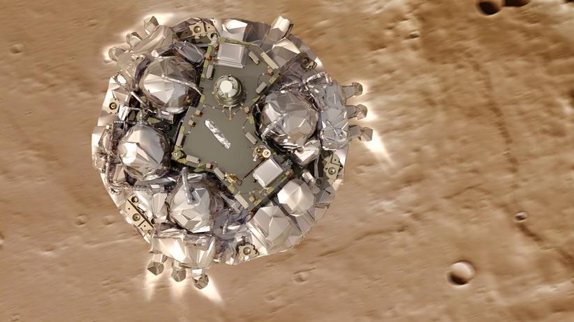 ExoMars: Simulation des Mars-Landers Schiaparelli während des Anflugs auf den Planeten