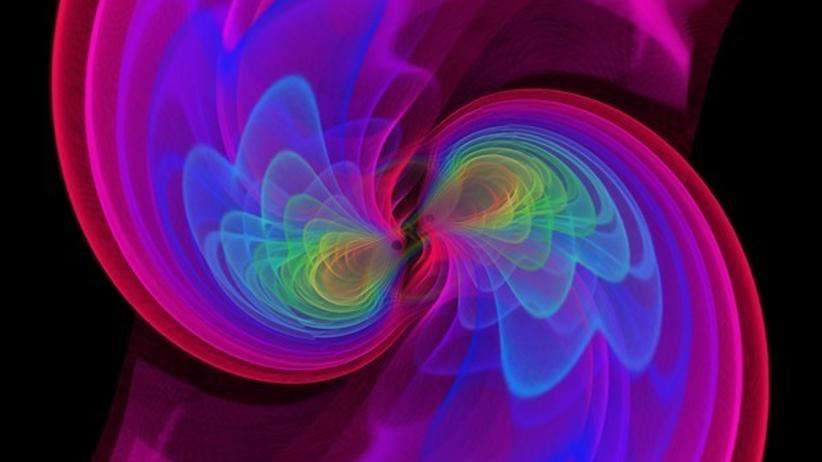 Gravitationswellen: Diese Simulation macht Gravitationswellen sichtbar, die entstehen, während zwei Schwarze Löcher verschmelzen.