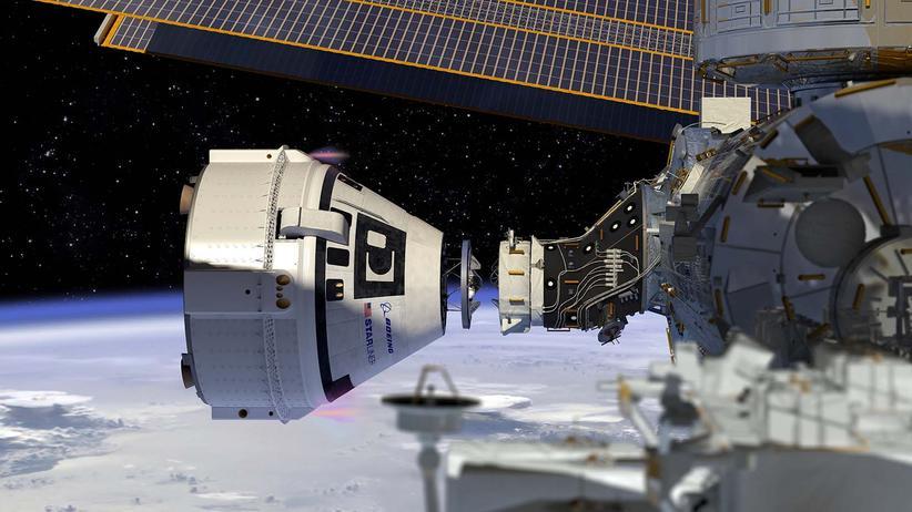 Boeing: Die Starliner-Kapsel dockt an die Internationale Raumstation an, sodass die Astronauten an Bord aussteigen können – theoretisch. Noch ist das, was in dieser Grafik gezeigt wird nur eine Vision von Boeing.