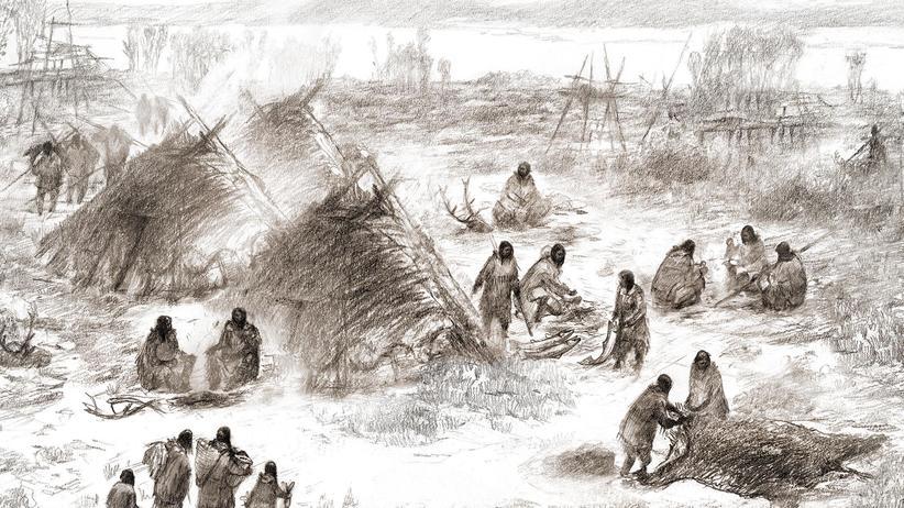 Anthropologie: Eine Zeichnung zeigt, wie die Vorfahren aller indigenen Völker Amerikas einst im heutigen Alaska gelebt haben könnten.