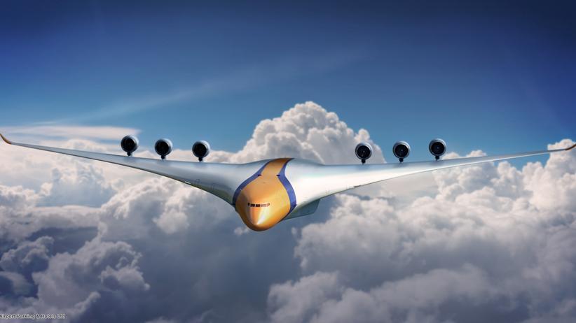 Elektroflugzeuge: So könnten Hybrid-Flugzeuge irgendwann aussehen – noch ist das aber eine Zukunftsvision.