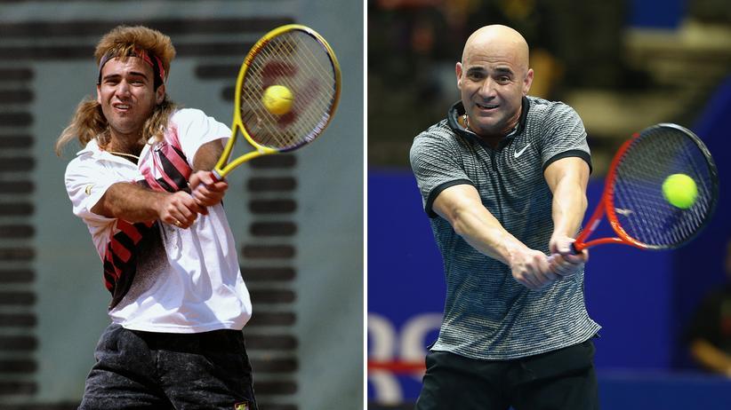 Glatze: Nicht der Schauspieler Bruce Willis, aber gleiches Phänomen, vielleicht eindrücklicher: Der Tennisspieler Andre Agassi. Zwischen den Bildern liegen 24 Jahre.
