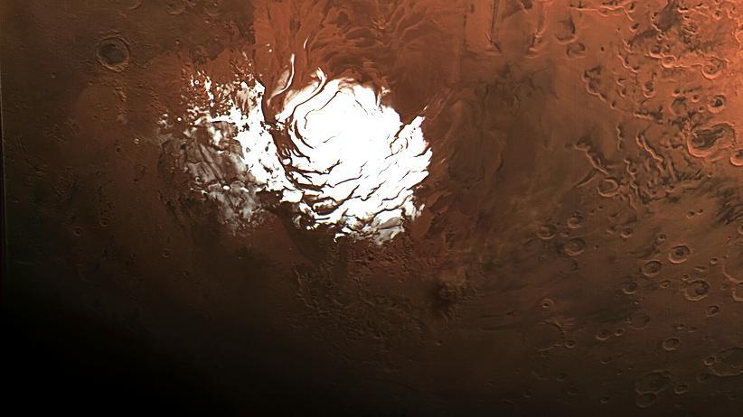 Wasser auf dem Mars: Von den Polkappen im Süden des Mars hallte ein verräterisches Echo.