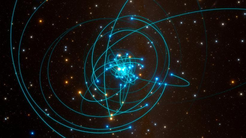 Relativitätstheorie: Diese Simulation zeigt die Orbits der Sterne nahe des supermassiven Schwarzen Lochs im Zentrum der Milchstraße.