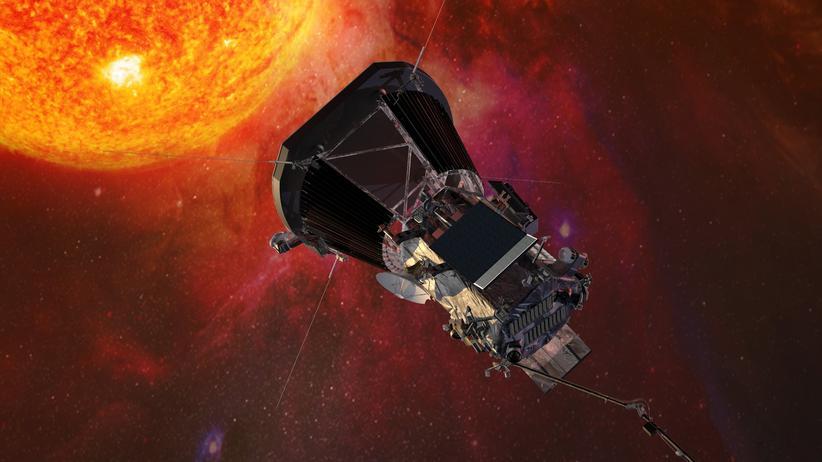 Parker Solar Probe: Künsterlisch in Szene gesetzt: die Parker Solar Probe nahe der Sonne.