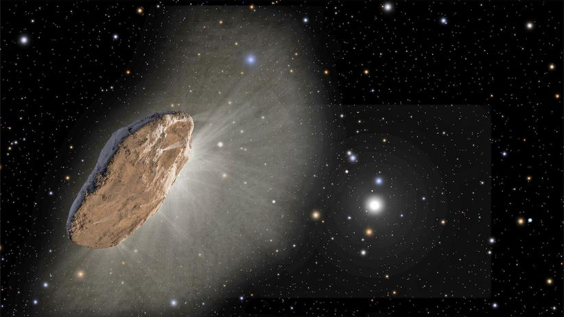 Oumuamua: Pfannkuchen oder Zigarre? Wie Oumuamua – das Ufo aus einem fernen Sonnensystem – wirklich aussieht, weiß keiner so genau. Längst ist es aus dem Blickfeld unserer Teleskope geflogen.
