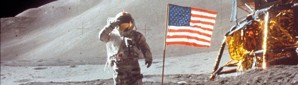 Mondlandung Thema Fahne