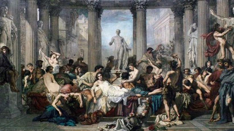 """""""Spätrömische Dekadenz"""": Man war reich und man zeigte es: Das Bild """"Les Romains de la décadence"""" von Thomas Couture (1844) zeigt den Luxus und die Dekadenz Roms"""