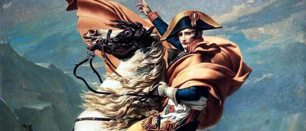 """Das Gemälde """"Napoleon überquert die Alpen"""" von Jacques-Louis David von 1801"""