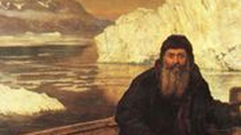 Henry Hudson, sein Sohn und Crewmitglieder nachdem Meuterer sie ausgesetzt haben. Das Gemälde entstand 1881 und stammt von John Maler Collier
