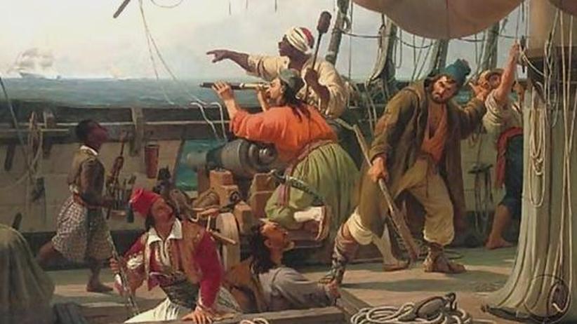 Ein Korsarenschiff aus Nordafrika lauert auf reiche Christen, die man in Geiselhaft nehmen, oder arme Christen, die man als Sklaven verkaufen kann. Gemälde von Niels Simonsen, 1837