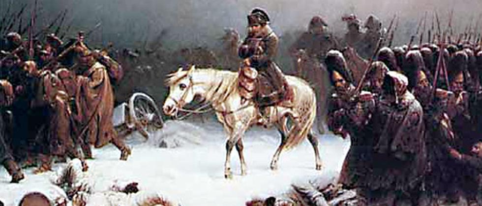 Napoleons Rückzug aus Moskau, gemalt von Adolf Northern (1828-1876).