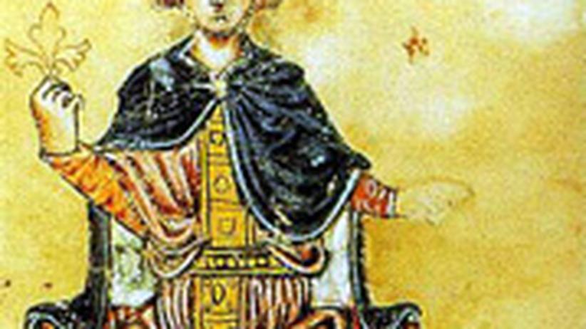 """Eine Abbildung zeigt Friedrich II. mit seinem Falken. Das Bild stammt aus seinem Buch """"De arte venandi cum avibus"""" aus dem 13. Jahrhundert."""