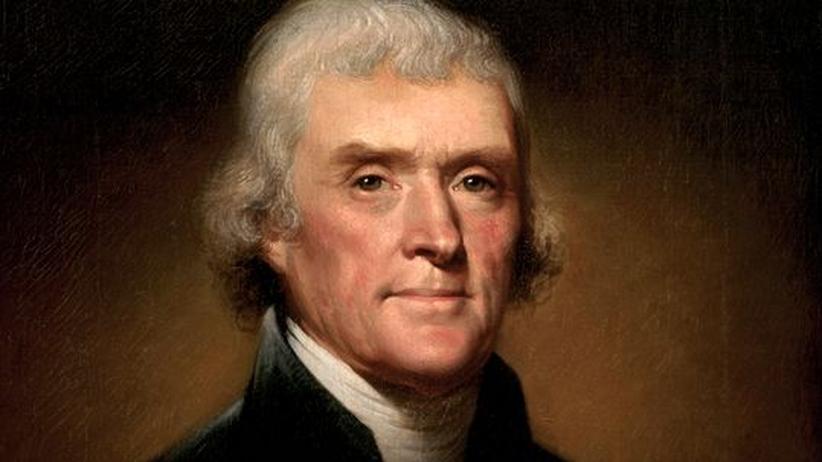 Dieses Porträt des Malers Rembrandt Peale zeigt den dritten Präsidenten der Vereinigten Staaten von Amerika, Thomas Jefferson.