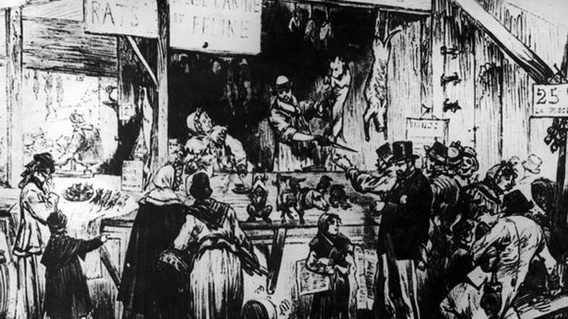 Paris 1870: Dieser Druck von Gustave Doré (1870) zeigt einen Fleischer im belagerten Paris, der Katzen-, Hunde- und Rattenfleisch verkauft.