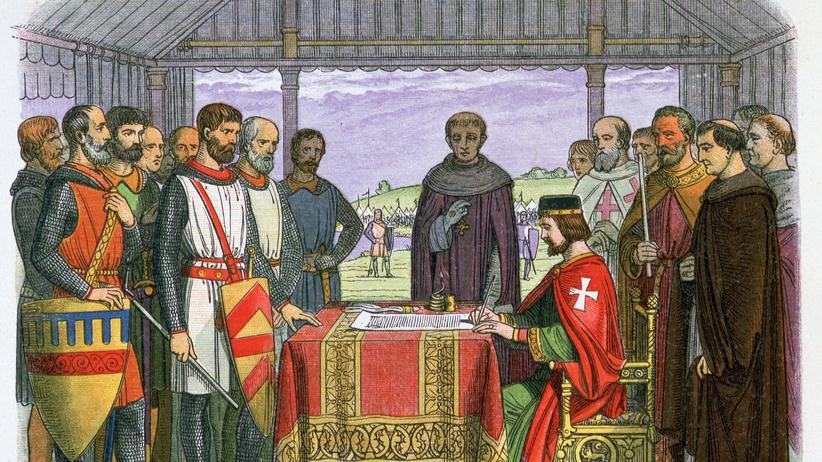 König Johann beim Unterschreiben der Magna Carta