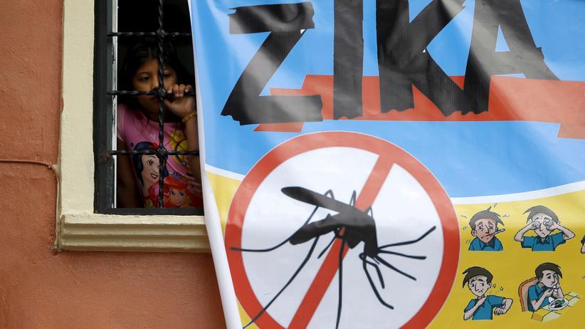 """Moskitos der Gattung """"Aedes"""" übertragen Zika. Das und woran man eine Infektion eventuell erkennt erklärt ein Plakat in Tegucigalpa, Honduras."""