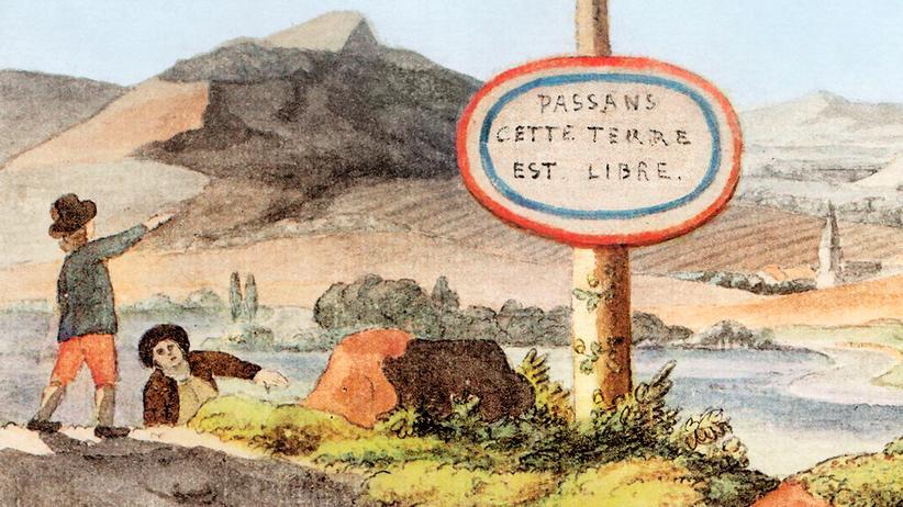 """Demokratie: """"Passanten, dieses Land ist frei"""" steht auf dem Schild in diesem Aquarell, das Johann Wolfgang Goethe 1792 malte. Es hängt an einem Freiheitsbaum der Französischen Revolution. Nicht ahnen konnte der Dichter, welche Bedeutung der Weiler im Hintergrund einmal erlangen würde: Er liegt in Schengen, wo 1985 Europa zum grenzenlosen Kontinent erklärt wurde."""
