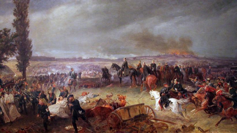 Schlacht von Königgrätz: Ein Gemälde, vermutlich von Georg Bleibtreu, zeigt die Schlacht von Königgrätz am 3. Juli 1866.