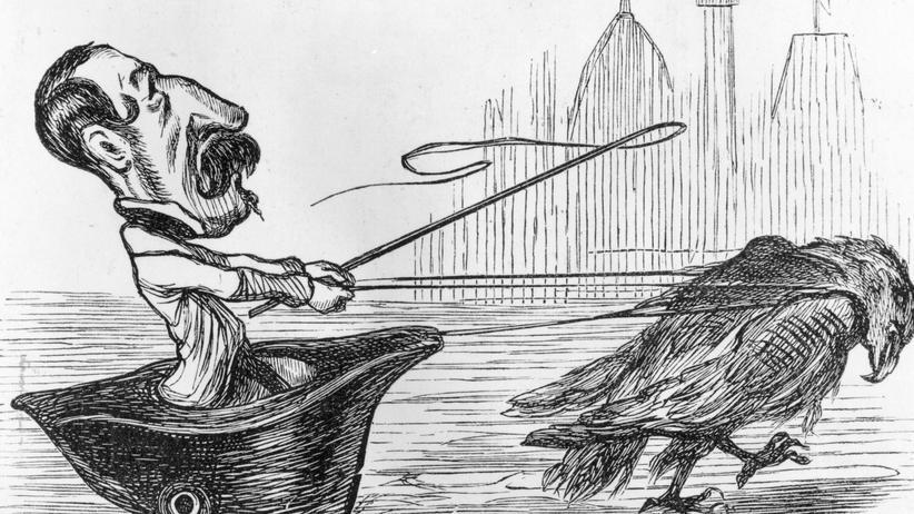 """Napoelon III.: 1848: Die Karikatur """"The Thin End Of The Wedge"""" zeigt Napoleon III. Sie erschien in der satirischen Zeitschrift """"Charivari"""", als er als Staatspräsident für die Zweite Republik kandidierte."""