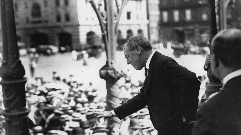 Erster Weltkrieg: US-Präsident Woodrow Wilson während einer Rede im Januar 1917