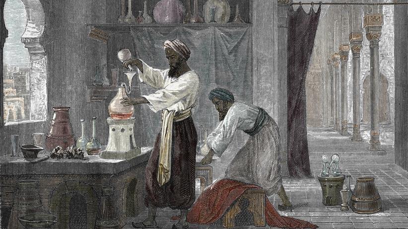 Wissenschaftsgeschichte: Einer von vielen Wissenschaftlern des Orients war der Gelehrte Rhazes. Diese Gravur (1867) zeigt ihn in seinem Labor in Bagdad.