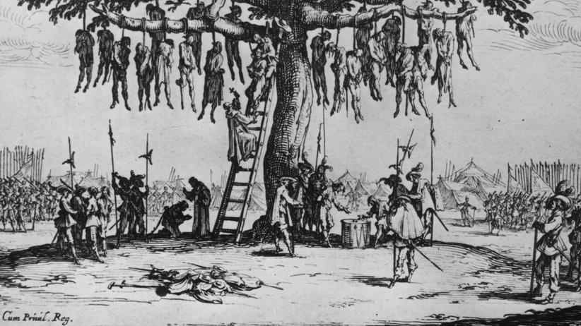 Kriegsverbrechen: Eine Zeichnung des Künstlers Jacques Callot zeigt eine Szene im Dreißigjährigen Krieg. Kriegsgefangene wurden getötet und ganze Dörfer ausgelöscht.