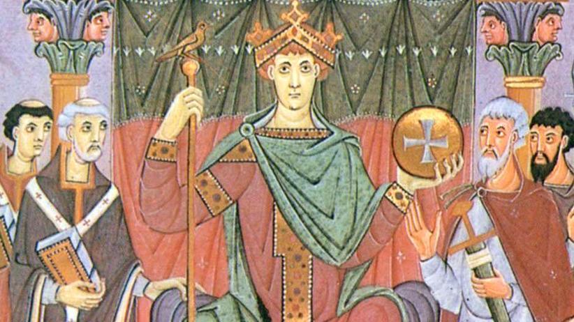 Woher kommen die Deutschen: Das Bildnis zeigt den römisch-deutschen Kaiser Otto III. Unter der Herrschaft der Ottonen wurden die verschiedenen germanischen Stämme erstmals zu einer Einheit: Dem Ursprung der Deutschen.
