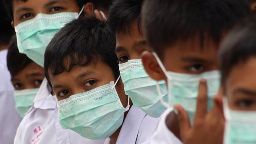 Schweinegrippe: Symbol eines unsichtbaren Feindes: Thailändische Schulkinder im vergangenen August mit  Mundschutz