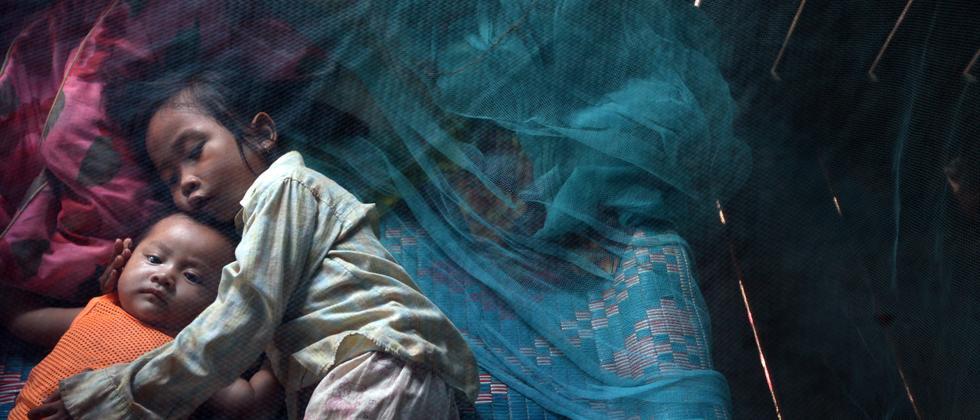 Zwei Kinder in dem Ort Prey Mong Kol in Kambodscha schlafen unter einem Moskitonetz. Die Mücken übertragen die gefährliche Malaria, besonders in der Regenzeit (Archivfoto).