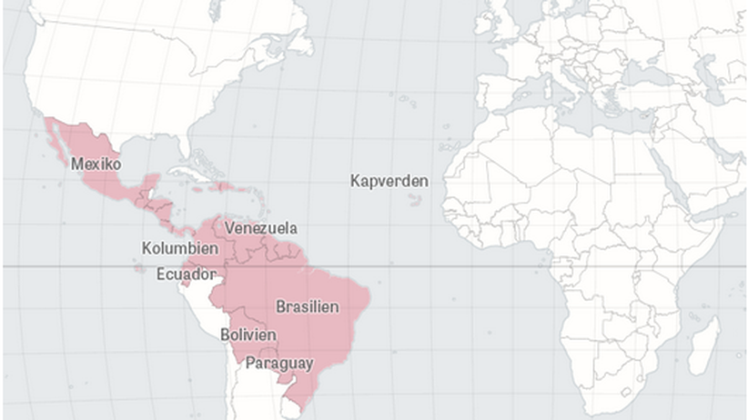 Zika Virus Lateinamerika Karte Infografik