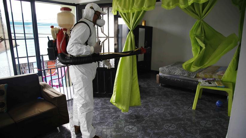 Guillain-Barré-Syndrom: Ein Mitarbeiter der Gesundheitsbehörde sprüht Insektizide im Haus einer infizierten Person.