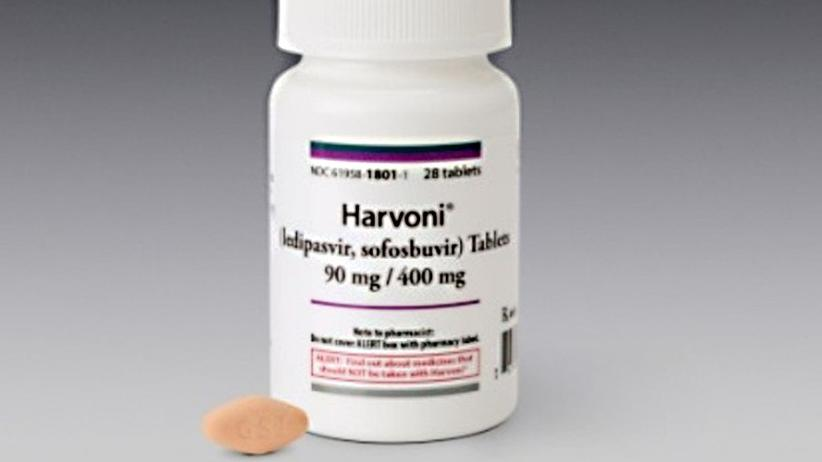 Hepatitis C: So sieht die Originalpackung des Hepatitis-C-Mittels Harvoni aus – die Pillen sind normalerweise orange.