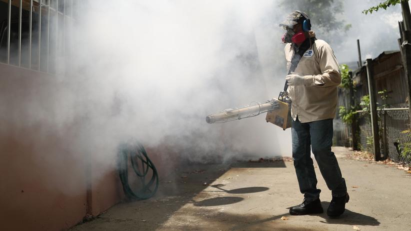 G20: Ein Staatsangestellter versprüht Insektizide zur Moskito-Bekämpfung in Miami, Florida, im August 2016. Der Anlass: neue Zika-Fälle in der Küstenstadt.