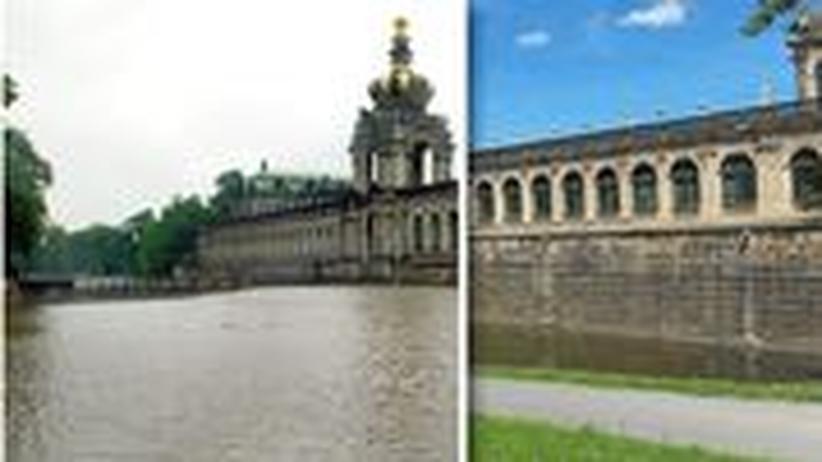 Wie hoch stand das Wasser während der Flutkatastrophe 2002? Vergleichen Sie Fotos aus Sachsen von damals mit Aufnahmen heute.