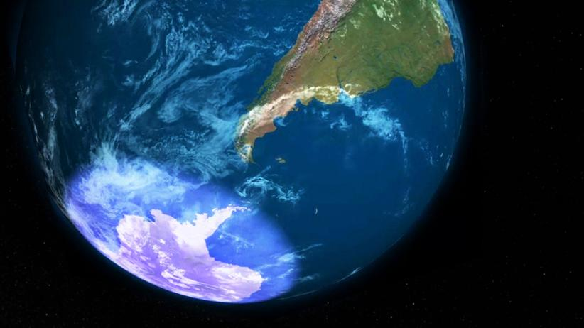 Ozonschicht: Diese Animation zeigt das Ozonloch als hellen Schimmer über der Antarktis.