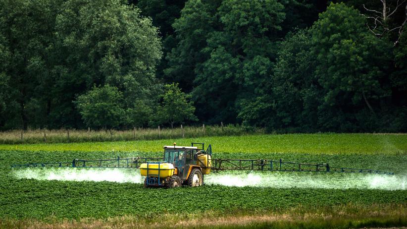 Krebsrisiko: Ein Landwirt sprüht Pestizide auf sein Feld in Bailleul, Nordfrankreich.