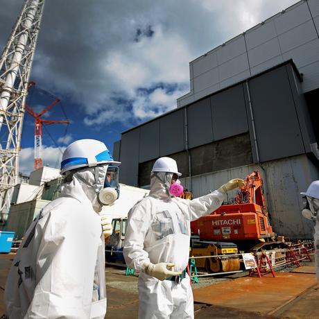 Mitarbeiter der Firma Tokyo Electric Power Co. (Tepco)