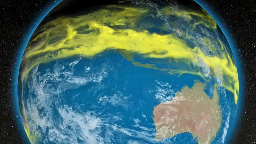 Ozonloch: Eine Animation zeigt, wie ozonschädliche Substanzen vom Äquator zu den Polen der Erde wandern.