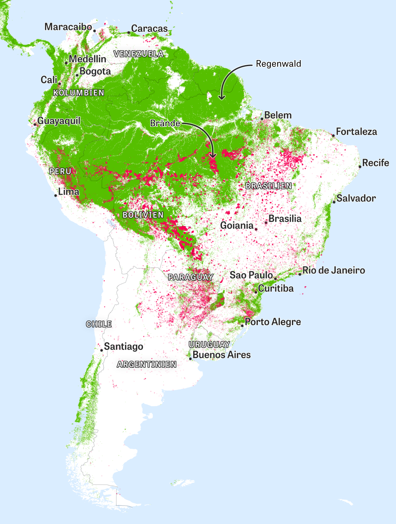 Südamerika: Messungen von Erdüberwachungssatelliten zeigen die Brandherde. Die Daten dazu wurden im Zeitraum vom 15. bis zum 22. August 2019 ermittelt.