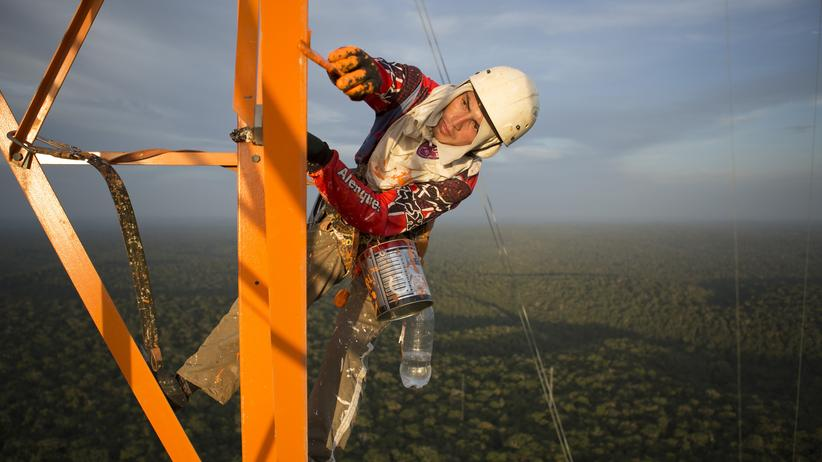 Susan Trumbore: Dieser Amazonasmessturm, um Atmosphäre und Wald zu erforschen, ist das zweithöchste Bauwerk Südamerikas. Mit 325 Metern Höhe überragt er den Regenwald.