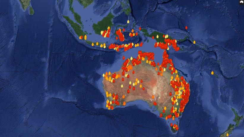 Waldbrände Australien Karte