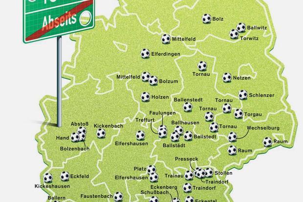 Deutschlandkarte: Orte, die nach Fußball klingen