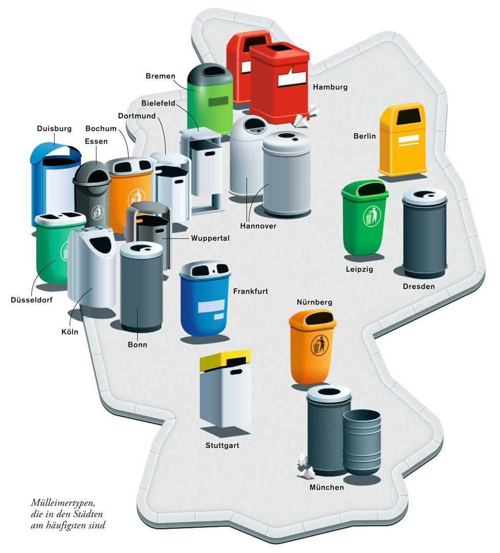 Deutschlandkarte: Mülleimer