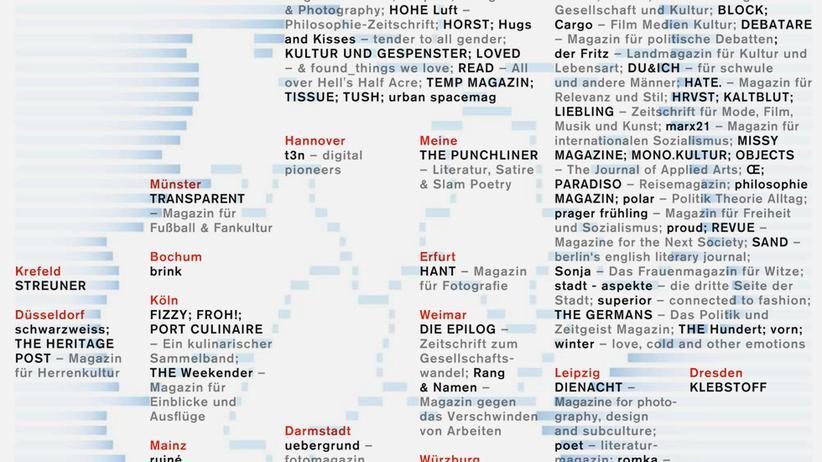 Deutschlandkarte: Unabhängige Zeitschriften