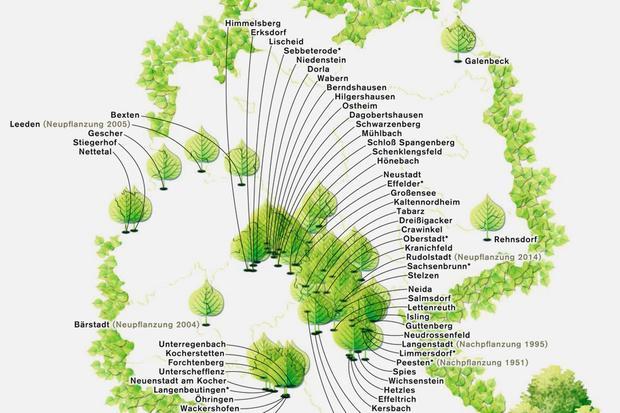 Deutschlandkarte: Tanzlinden